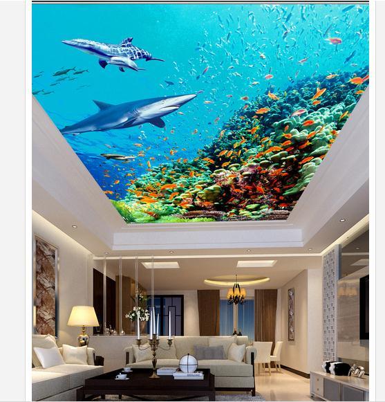 3d wallpaper custom 3d ceiling wallpaper murals Marine fish living room bedroom frescoes wall paper 3d room photo wallpaper(China (Mainland))