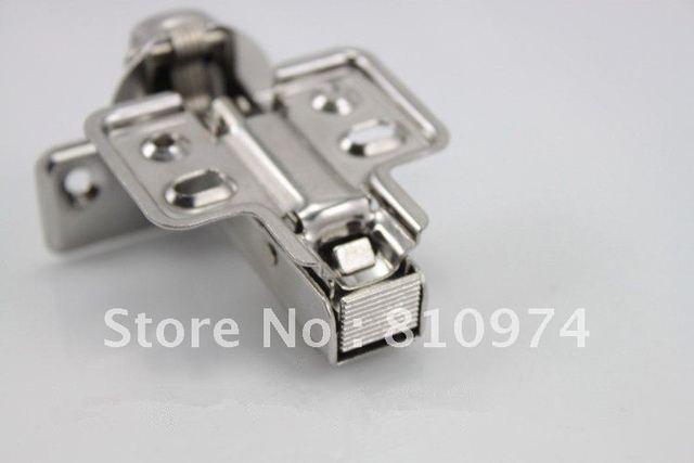 100 Pcs Cabinet Hardware Door Drawer Overall Hinge Damping Buffer Half overlay stainless steel Hidden damping hinge nickel