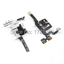 Earphone headphone Audio Jack Volume Mute Silent Switch Button Flex Cable for iPhone 4s 4gs Free Shipping 20pcs/lot