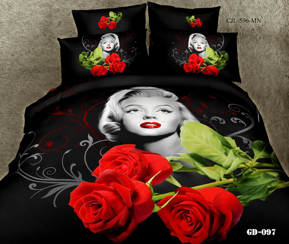 3D Marilyn monroe red rose bedding fashion sets king queen size duvet cover bedspread bedsheet bed in a bag fitted sheets home(China (Mainland))