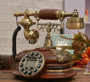 Antique Telephone Reproduction Retro Vintage Collectors Desktop Corded Resin Phone Push Button Dial Telephone Free Shipping(China (Mainland))