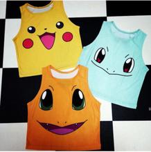 New 2015 Cartoon Pattern Women Crop Top Fashion Colorful Camis Sailor Moon Pokemon Pattern Sexy Sleeveless T-shirt Casual Tee(China (Mainland))