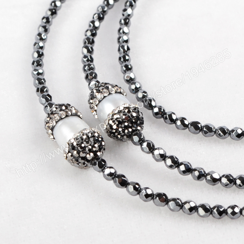 Wholesale Five Natural Freeform Turquoise Faceted Beads Necklace Paved Zircon Black Chain Fashion Druzy Body Jewelry JAB168(China (Mainland))