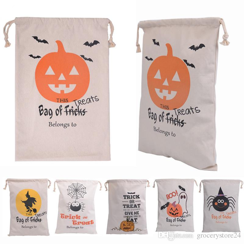 50pcs 6 style Halloween Canvas Cotton Personalized Candy Gifts Bag Party Pumpkin Spider treat or trick Drawstring Bags Pouch bag(China (Mainland))