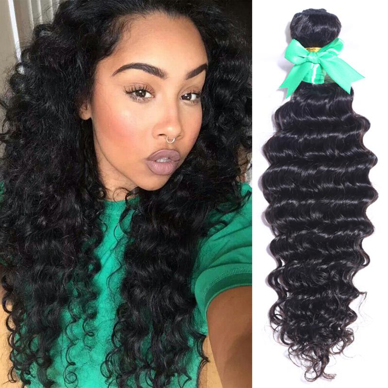unprocessed malaysian deep wave virgin hair bundle cheap deep curly hair weft 4pcs human hair extension natural black hair weave