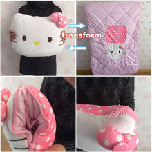 36CM Hello Kitty Pillows Stuffed Plush Toys Transform Air conditioning quilt Good Quality Special Offer(China (Mainland))