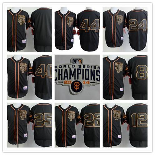 2015 New Black SF/San Francisco Giants 28 Buster Posey 40 Madison Bumgarner 8 Hunter Pence W2014 World Series Champion Patch(China (Mainland))