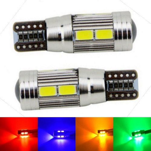 2pcs T10 10 SMD 5630 LED with Projector Lens Car Parking Lights W5W 194 AUTO Clearance light reading dome Lamp Canbus Error Free(China (Mainland))