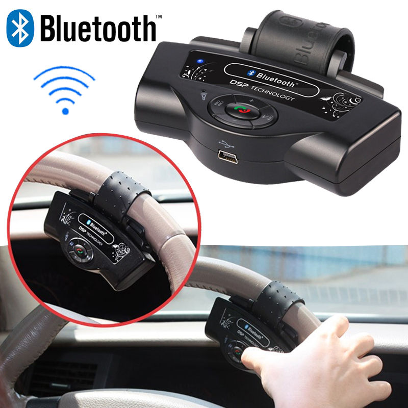 Steering Wheel Bluetooth Car Kit Music MP3 Player Handsfree for iPhone Samsung Smartphone Built-in Rechargeable Battery(China (Mainland))