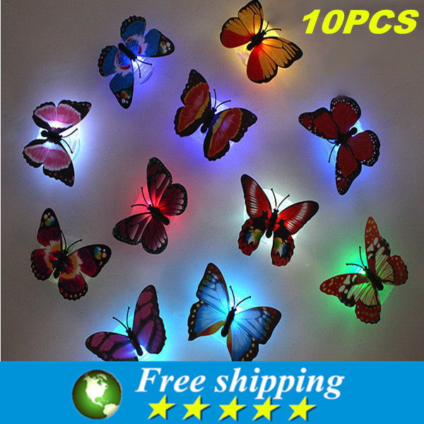 Luminous butterfly sucker nightlight,butterfly Nightlight, lowers small night lamp,wall lights,Indoor lighting,toys for childre(China (Mainland))