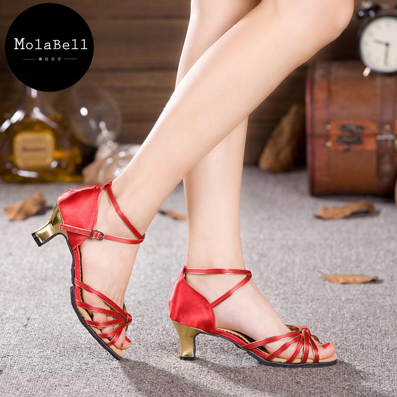 5colors colour mixture Adult Mid Heel Latin Modern Dance Shoes Women's Ballroom Dancing Soft Comfortable 34-43size(China (Mainland))