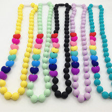 Food grade Silicone Teething Necklace with heart beads baby chew necklace Nursing necklace wholesale  silicone necklace teether(China (Mainland))