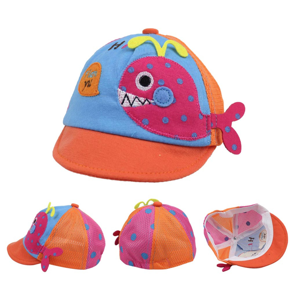 2016 Spring Summer Baby Hat Colorful Fish Print Cute Infant Baby Visor Hat Baby Kids Cap Peaked Cap Caps Accessories(China (Mainland))