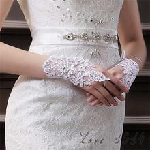 Perles ecrire ivoire doigts court paragraphe élégantes gants de mariage strass mariée gros creux SV003314(China (Mainland))