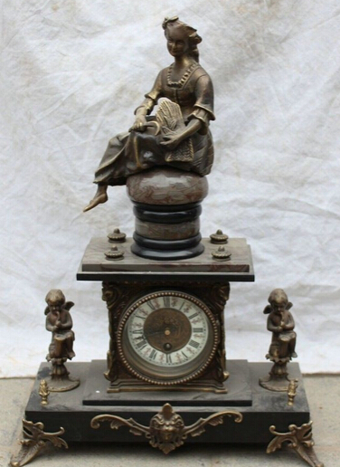 """JP S0524 18"""" Chinese Copper European style Belle Two angel Art Mechanical Clock Table(China (Mainland))"""