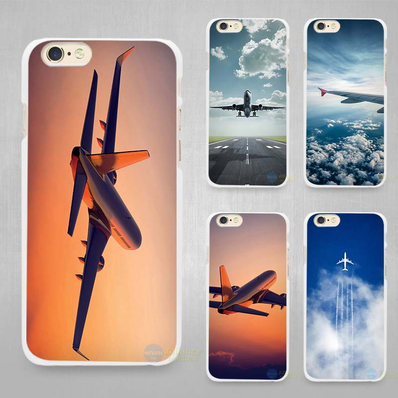 Airplane Hard White Cell Phone Case Cover for Apple iPhone 4 4s 5 SE 5s 6 6s 7 Plus(China (Mainland))