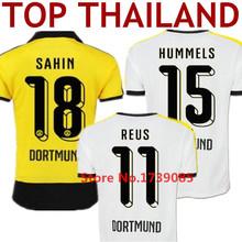 Soccer Jerseys Borussia Dortmund 15 16 Camisas Borussia Dortmund 2016 Yellow BVB Dortmund MARCO REUS SAHIN HUMMELS Black Shirt(China (Mainland))