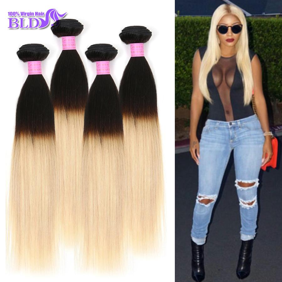 "7AAAAAAA Grade Ombre Platinum Blonde T1B/613 100 Realistic Human Hair 4 Bundles Malaysian Straight Raw Virgin Hair Mixed 10""-26""(China (Mainland))"