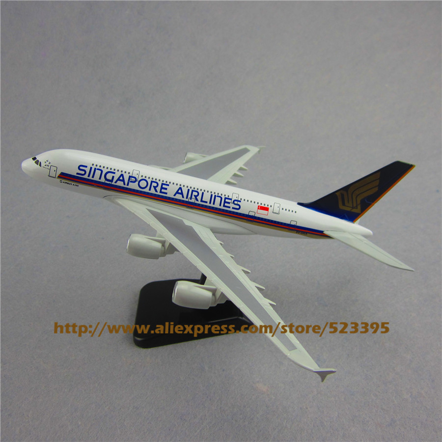 18cm Metal Airplane Model Air Singapore Airlines Airbus 380 A380 Airways Plane Model W Stand Aircraft Toy Gift(China (Mainland))