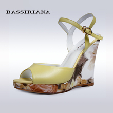BASSIRIANA – women platform sandals shoes, white and yellow colors, russian sizes 35-40, genuine leather, free shipping