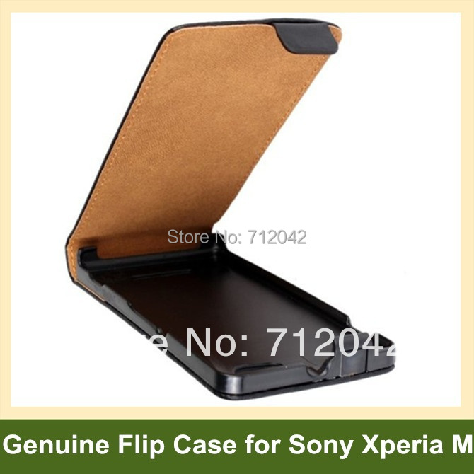 Fashion Genuine Leather Flip Cover Case for Sony Xperia M C1905 with Magnetic Snap 10pcs/lot Free Shipping