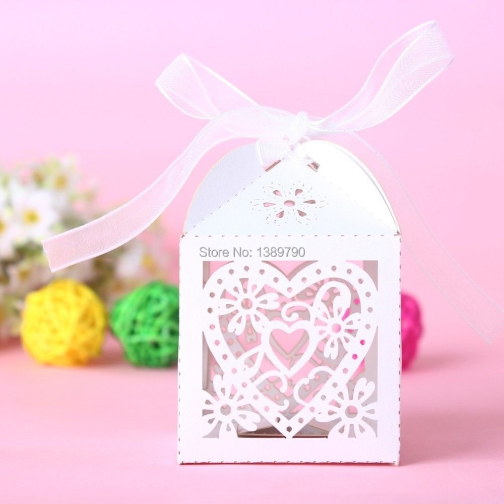 New 100PCS Love Heart Laser Cut Candy Gift Boxes With Ribbon Wedding Party Favor Creative Favor Bags Free Shipping(China (Mainland))