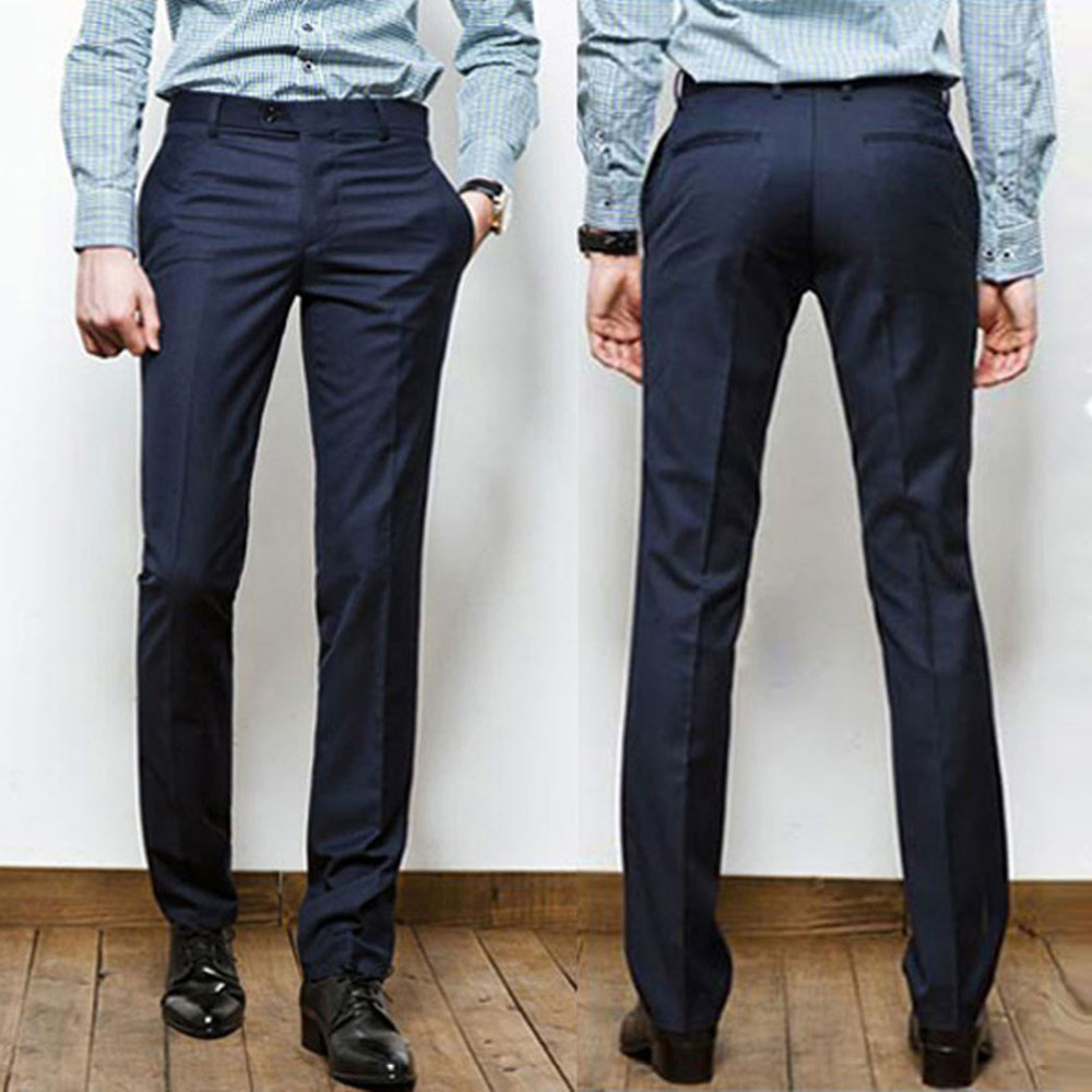 2015 New Mens Dress Pants Formal Straight Style Smooth Trousers Black Navy Long Slim Suit Pants ...