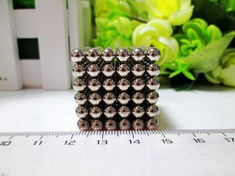 216pcs 5mm Buckyballs Magnetic Balls Neo Magic Cube Puzzle Neocube Intelligence Toy NEODYMIUM Spacer Beads Sliver Education Toy(China (Mainland))