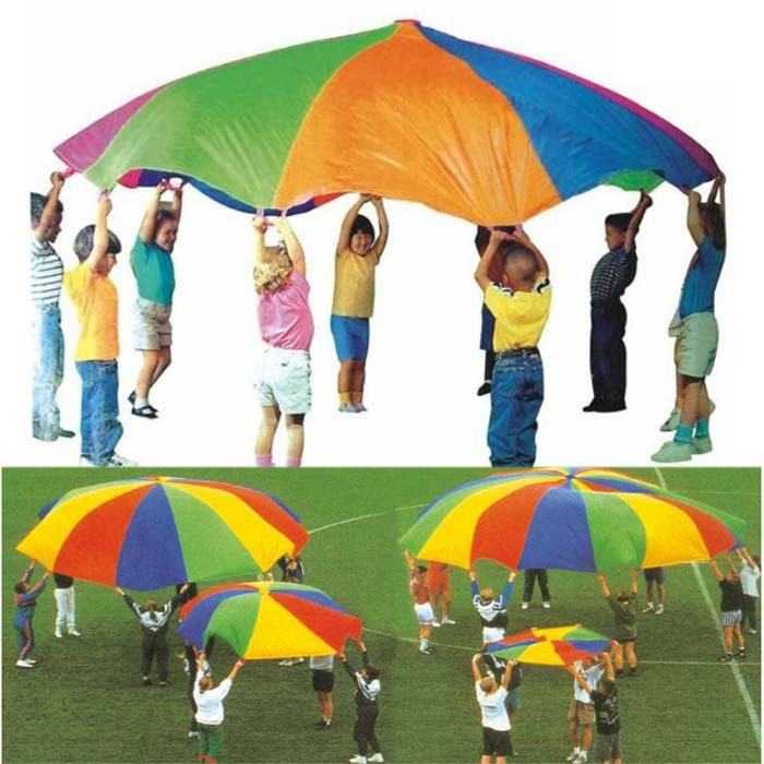 Free Shipping New 6FT Kids Children Play Rainbow Parachute Outdoor Game Exerclse Sport Umbrella Toy(China (Mainland))
