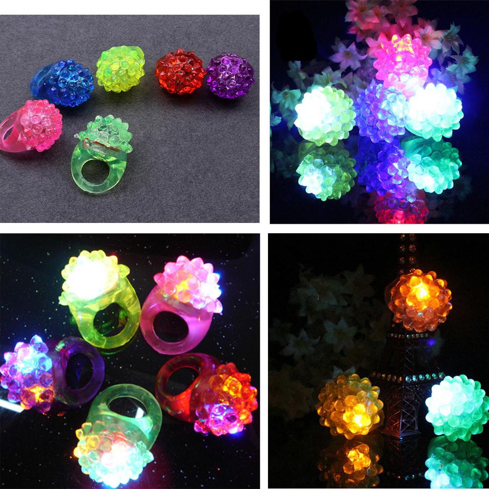 5Pcs LED Finger Ring Dazzle Flashing Glowing Ring Soft Silicone Strawberry Colorful Lights Toy Xmas Holloween Wedding Gift Decor(China (Mainland))