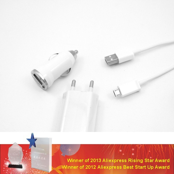 Здесь можно купить  3 in 1 Travel Kit EU/US Plug Home Charger + Car Charger + USB Cable with OPP retail bag for Samsung/HTC/Sony/Lenovo  Телефоны и Телекоммуникации