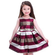 Buy Baby Girl Princess Dress Kids stripe Sleeveless Dresses Toddler Girl Children European American Fashion Clothing Free Belt for $11.05 in AliExpress store