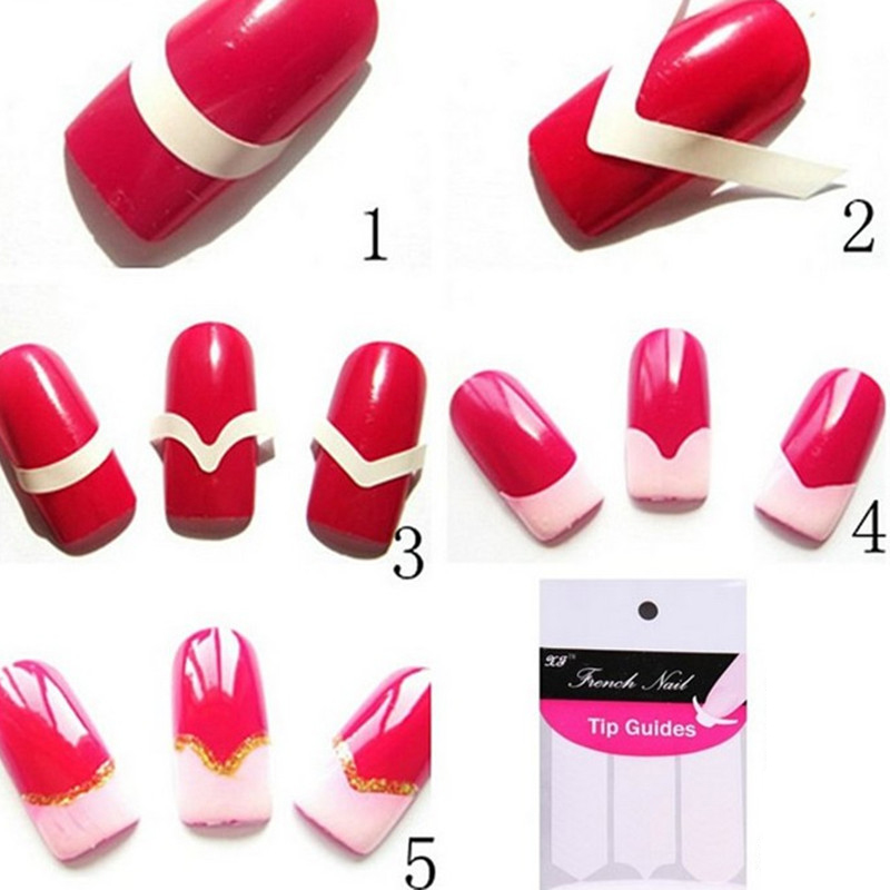 18pcs Different styles Nail Art Sticker DIY French Manicure Nail Round Form Fringe Guides Nail Sticker Fingernail Tools sticker(China (Mainland))