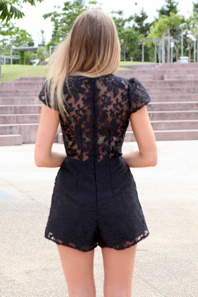 2015 New Arrival Black Lace Jumpsuits V Neck Sexy Womens Rompers White Black Choose  YJ7023-2