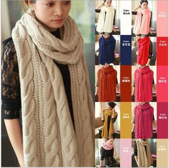 Scarf women 2013 Lady Long Wool Pashmina Warm Knit Hood Cowl Winter Neck Wrap Scarf Shawl free shipping