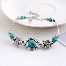 Vintage Charming Crystal Tibetan Silver Butterfly round blue turquoise beads bracelet jewelry for women 2014 Wholesale(China (Mainland))
