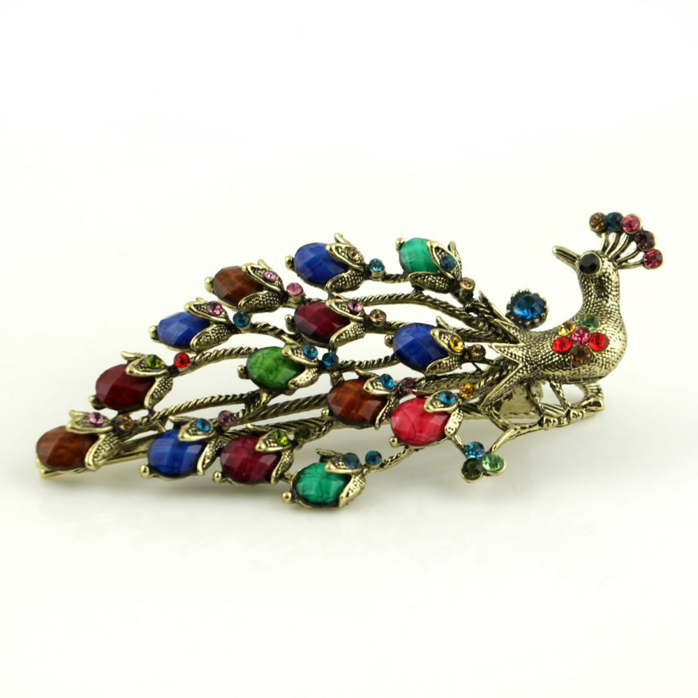 Fashion Women/Girls colorful light golden Peacock Rhinestones Hairwear Jewellery Hair pin Vintage Hairpin Hair Clip New Arrival(China (Mainland))