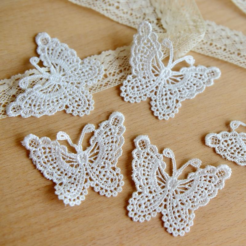 2017 Iron On Patches Patches For Clothing Fallout Lace Clothing Accessories Exports Fine White Bow Soluble Embroidery 6.5cm*5cm(China (Mainland))