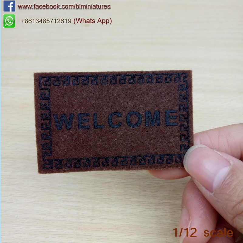 3pcs Doll  House Miniature WELCOME Mat Brown Dollhouse Accessories  Home & Living 1/12 Scale