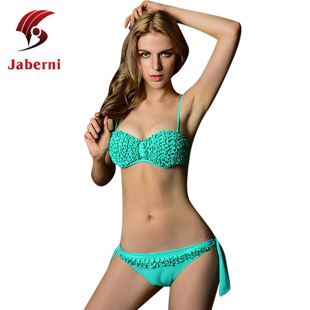 Hot 2016 женщин рюшами сексуальная верх низ пляж кружева бикини чистой пляжная девушка бандо Biquini
