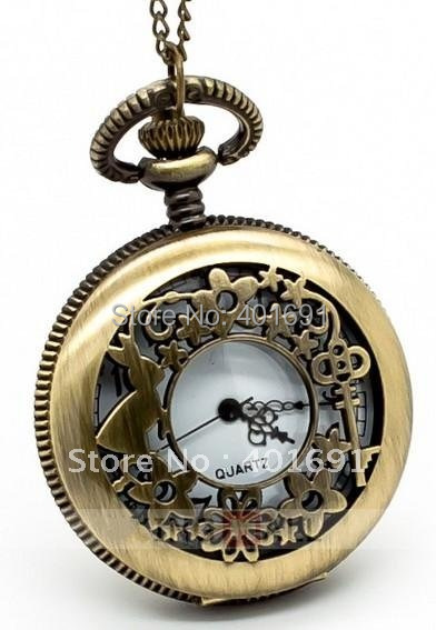 Retro Flower Rabbit Quartz Pocket Watch Necklace Chain Pendant Big 4 7x4 7cm Free Shipping 10