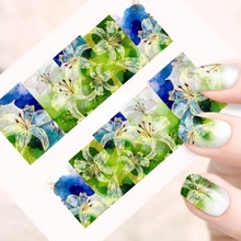 NEW 1sheet Beauty Flower Full Cover Stickers Nail Art Full Tips Decorations Nail Stickers Decals Wraps Patch Watermark(China (Mainland))