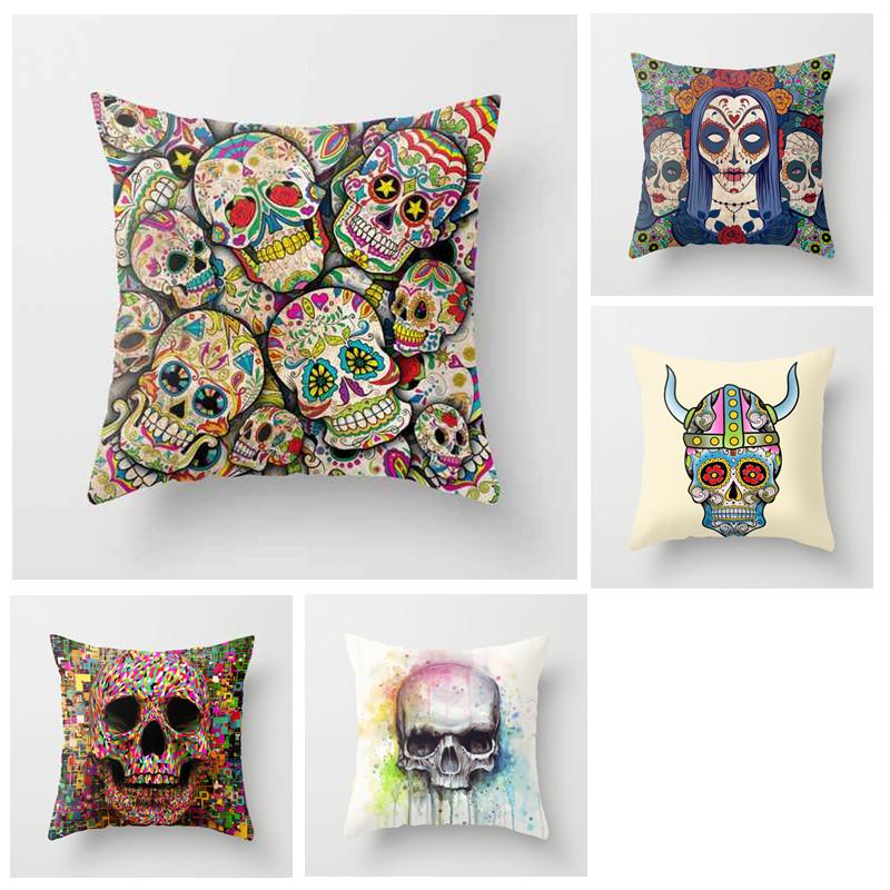 Hot 2015 New Home Decor Colorful Sugar Skull Cushion Cover