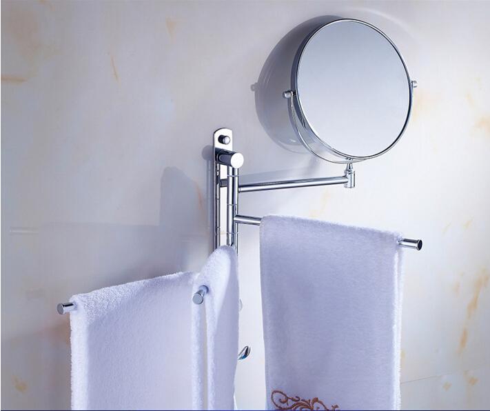 Фотография Fashion movable bathroom Towel Bar Towel Holder brass material Towel rack with hooks and dressing mirror