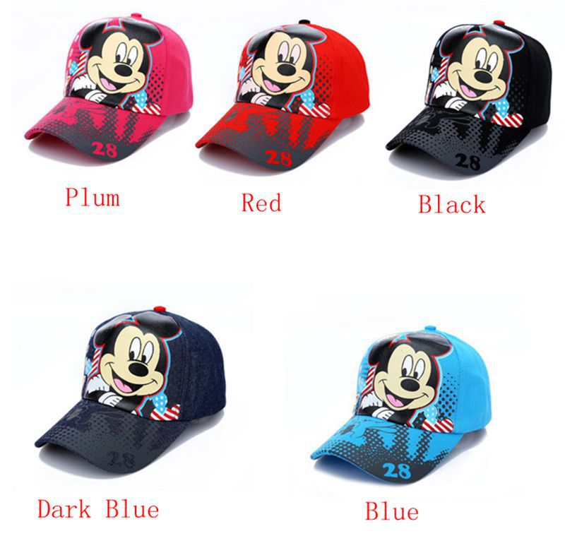 2015 New Product Boys Girls Summer Baseball Caps Child Cartoon Mickey Minnie mouse Caps Adjustable Kids sun Hats Free shipping(China (Mainland))