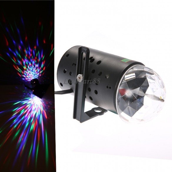 3W Full Color LED Crystal Rotating RGB Stage Lighting DJ Disco Xmas Party Effect Lights Lamp 24(China (Mainland))