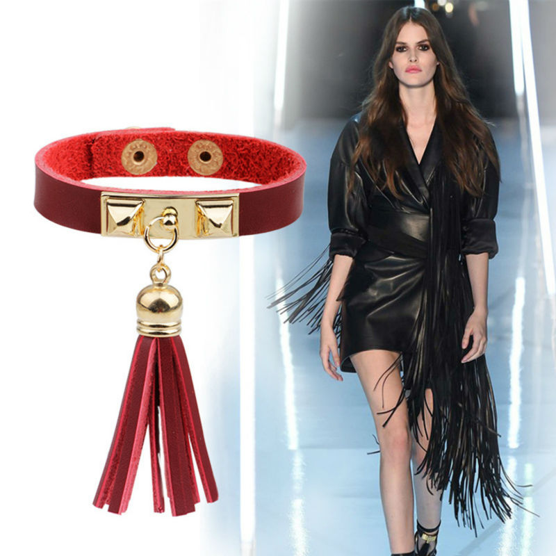 New Arrival Leather Bracelets Hot Fashion Designer Leather Tassel Fringes Charm Bracelets for Women pulseras de cuero YW430(China (Mainland))