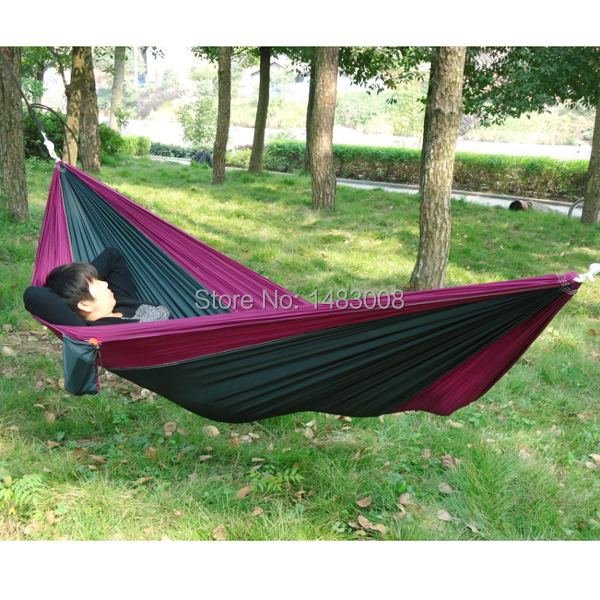 Portable Outdoor Traveling Camping Parachute Nylon Fabric Hammock for Two Person 8 Colors High Quality(China (Mainland))