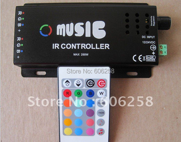NEW DC12V 144W Common Anode IR two Strip 24key RGB Music Controller RGB LED Strip Remote Controller(China (Mainland))