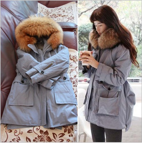 TOP Quality!!Winter Fashion Women's Real Fur Coat Lady Jacket swallowtailed Winter Trench coat